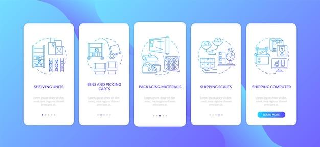 Schermata della pagina dell'app mobile di onboarding blu scuro della gestione del magazzino con concetti