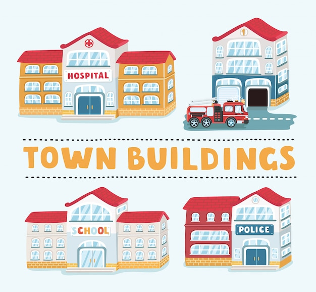 Negozi e negozi di icone di edifici impostato su sfondo bianco, illustrazione