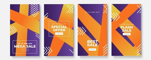 Modello di storie impostato per la vendita di banner, presentazione, flyer, poster, invito. sfondo dello schermo per l'app mobile. modello di storia di instagram.