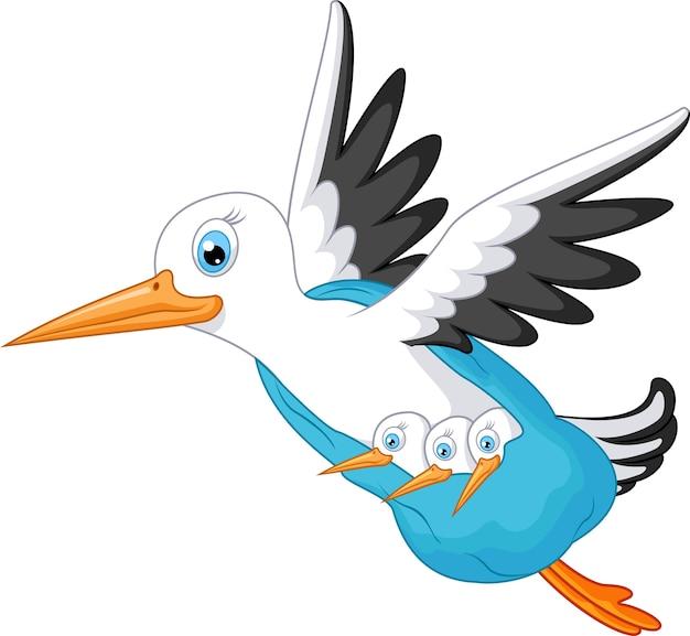 Cartone animato di cicogna che porta un bambino