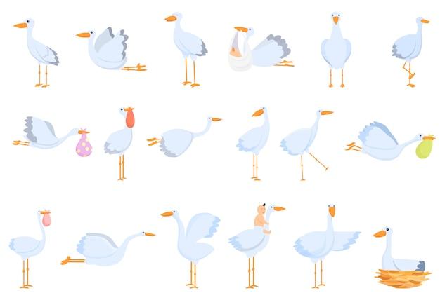 Set di icone di cicogna. insieme del fumetto delle icone di vettore della cicogna
