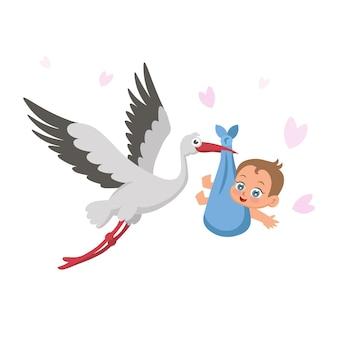 Cicogna con bambino su uno sfondo bianco