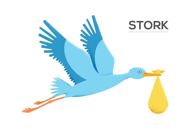 Storke con bambino su sfondo bianco