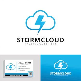 Modello di logo di storm cloud