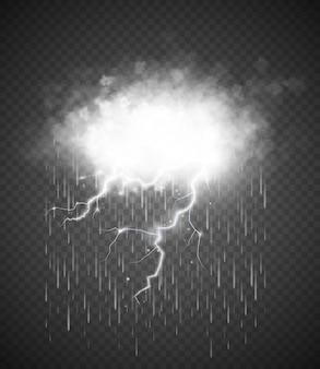 Tempesta con fulmini isolato su trasparente.