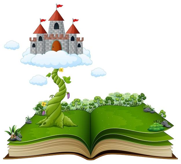 Libro di storia con fagiolo magico e castello tra le nuvole