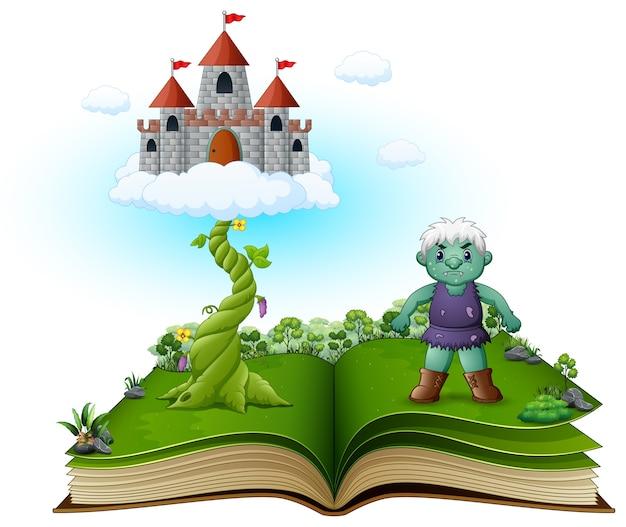 Libro di storia con magico fagiolo magico