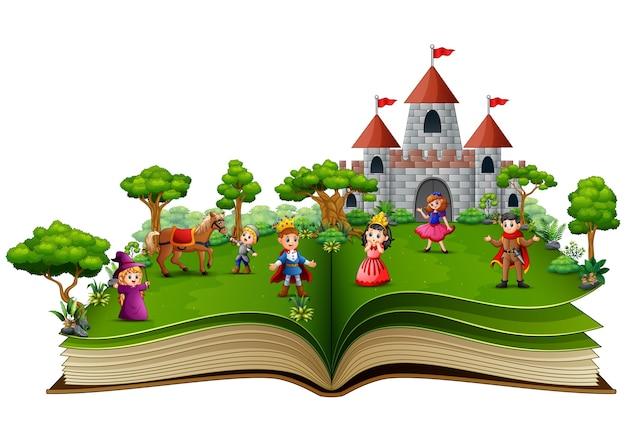 Libro di storia con cartone animato della storia reale