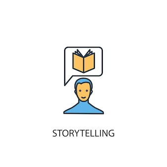 Concetto di narrazione 2 icona linea colorata. illustrazione semplice dell'elemento giallo e blu. disegno del simbolo del contorno del concetto di narrazione