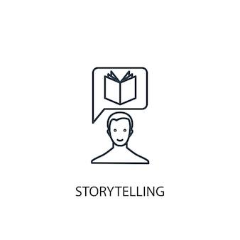 Icona della linea del concetto di narrazione. illustrazione semplice dell'elemento. disegno di simbolo di contorno del concetto di narrazione. può essere utilizzato per ui/ux mobile e web