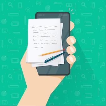 Creazione di contenuti di storytelling o scrittura di articoli sul cellulare