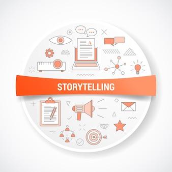 Storytelling con il concetto di icona con forma rotonda o circolare