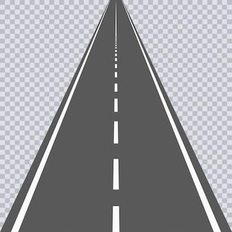 Strada asfaltata diritta con segni bianchi. autostrada. illustrazione vettoriale.