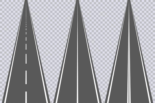 Strada asfaltata diritta con segni bianchi. set di autostrada. illustrazione vettoriale.