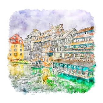 Illustrazione disegnata a mano di schizzo dell'acquerello di strasburgo francia