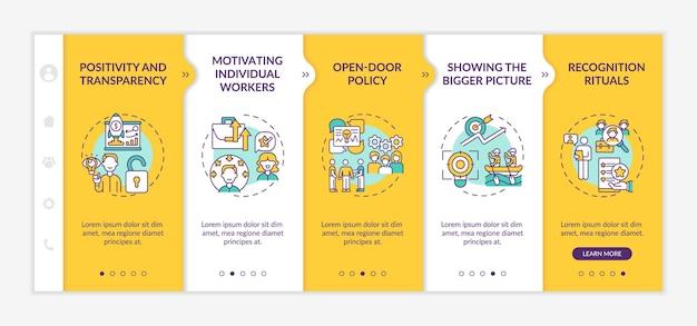 Strategie del modello di onboarding della motivazione del personale. incoraggiare i dipendenti a lavorare meglio. schermate di passaggio della procedura guidata della pagina web.