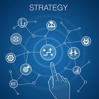 Concetto di strategia, sfondo blu. icone obiettivo, crescita, processo, lavoro di squadra