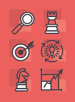 Collezione di icone di strategia e gestione