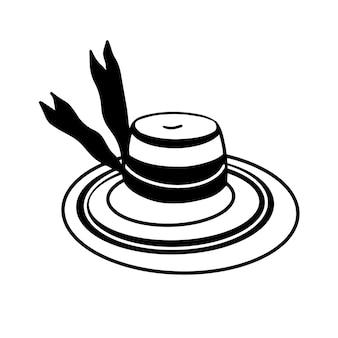 Cappello di paglia a tesa larga isolato su sfondo bianco