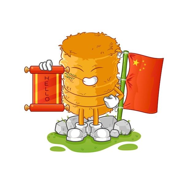 Il fumetto cinese del rotolo di paglia. mascotte dei cartoni animati