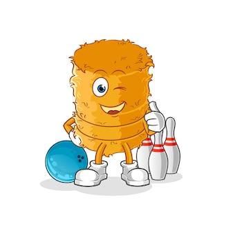 Il rotolo di paglia gioca a bowling. personaggio
