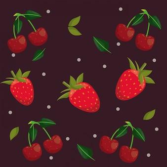 Le fragole e le ciliege modellano i cartoni animati del fondo