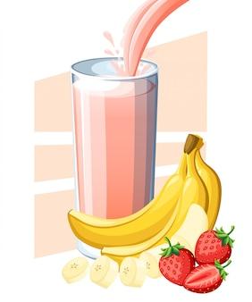 Succo di banana alla fragola. frutta fresca e succo di bacche in vetro. il succo scorre e schizza nel bicchiere pieno. illustrazione su sfondo bianco. pagina del sito web e app per dispositivi mobili
