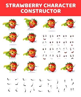 Costruttore di personaggi fragola kit mascotte creazione fragola cartone animato
