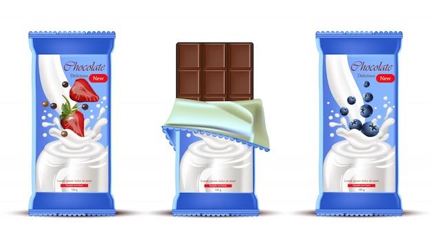 Barretta di cioccolato alle fragole con crema al latte