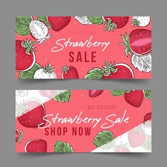 Set di banner di frutta fragola