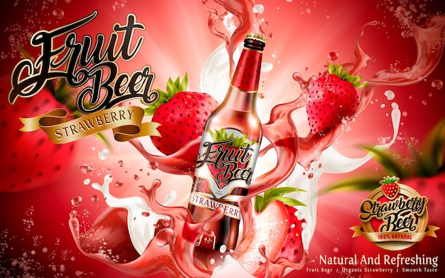 Illustrazione di annunci di birra alla frutta alla fragola