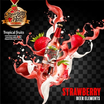 Fragola frutta birra elementi illustrazione