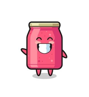 Personaggio dei cartoni animati di marmellata di fragole che fa gesto della mano dell'onda, design carino
