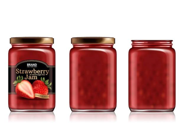 Design del pacchetto di marmellata di fragole, set di mockup di barattoli di vetro con etichetta progettata