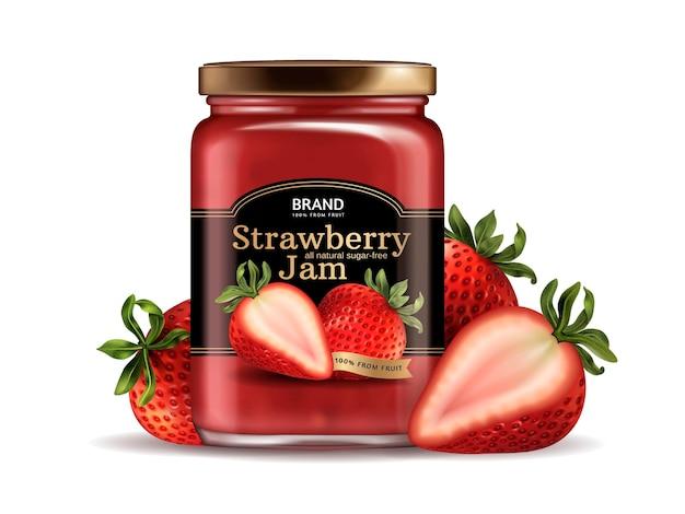 Design della confezione di marmellata di fragole, barattolo di vetro con etichetta progettata e frutta fresca