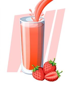 Succo di fragola. bacca fresca bevanda in vetro. frullati di fragole. il succo scorre e schizza nel bicchiere pieno. illustrazione su sfondo bianco. pagina del sito web e app per dispositivi mobili