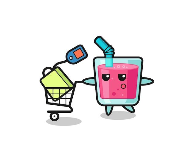 Fumetto dell'illustrazione del succo di fragola con un carrello della spesa, design in stile carino per maglietta, adesivo, elemento logo