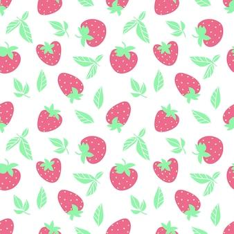 Reticolo senza giunte della fragola della frutta su backgrownd bianco. illustrazione piana di vettore. concetto di frutta estiva. design per tessuti, carta da parati, avvolgimento, sfondo