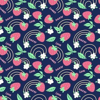 Modello di frutta senza cuciture alla fragola con fiore, arcobaleno su sfondo blu scuro. illustrazione piana di vettore. concetto di frutta estiva. design per tessuti, carta da parati, avvolgimento, sfondo