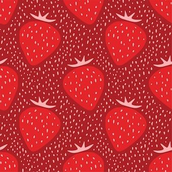 Reticolo senza giunte della fragola con ornamento di grandi bacche rosse e puntini. sfondo di frutta. design cartaceo digitale per album.