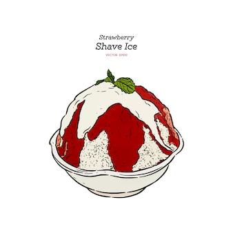 Strawberry shave ice o kakigori, vettore di schizzo di tiraggio della mano.