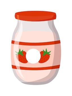 Yogurt alla fragola in barattolo di vetro mason isolato su bianco