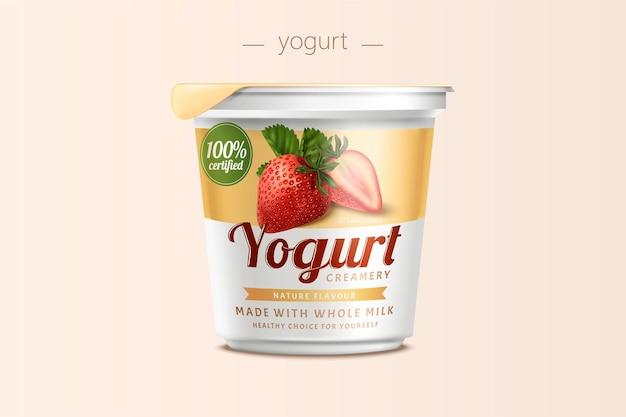 Design della confezione di yogurt alla fragola, contenitore per alimenti