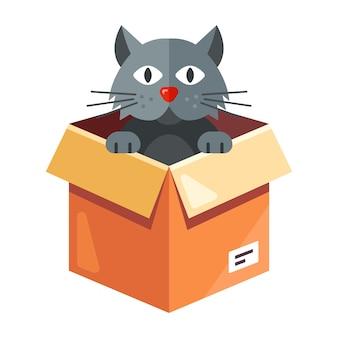 Un gatto randagio vive in una scatola di cartone. illustrazione del personaggio su sfondo bianco.