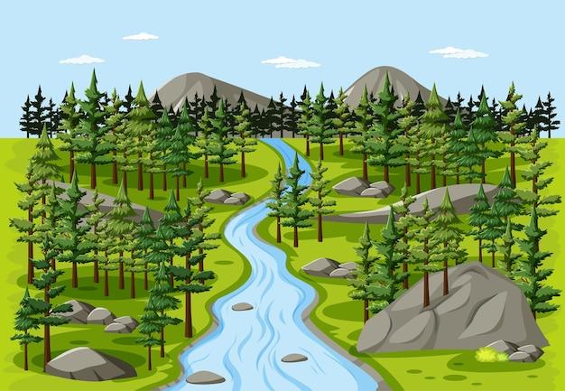 Flusso nella scena del paesaggio naturale della foresta