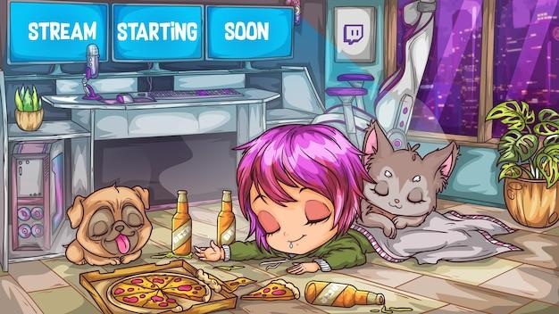 Stream che inizierà presto twitch modello modificabile anime manga offline