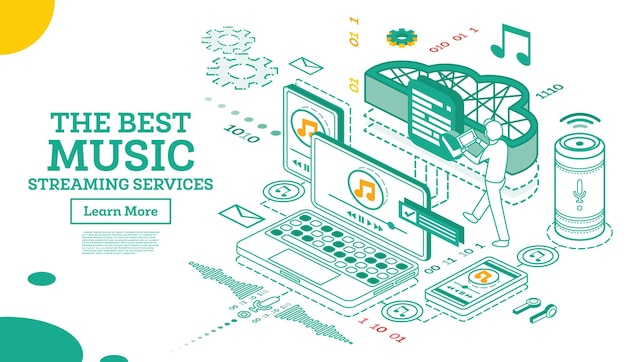 Servizi di musica in streaming. concetto isometrico. illustrazione