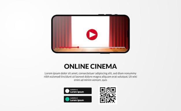 Streaming banner online dal display video dello schermo del telefono dell'app