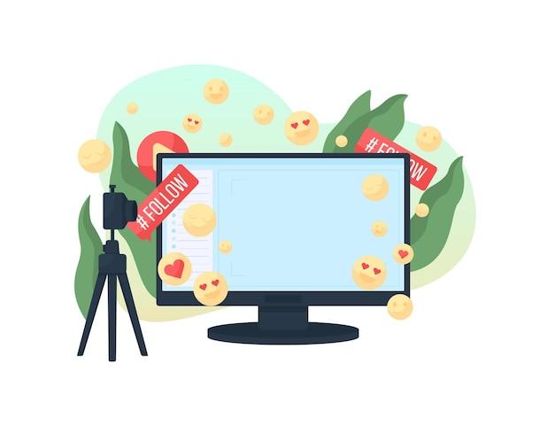 Illustrazione di concetto piatto di vlog in streaming