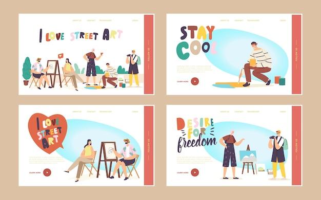 Personaggi dell'artista di strada lavorano insieme di modelli di pagina di destinazione. uomo che dipinge il ritratto di una ragazza seduta davanti al cavalletto. pittore disegno su asfalto. hobby creativo all'aperto. cartoon persone illustrazione vettoriale